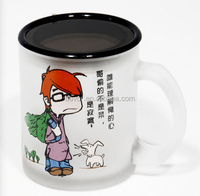 wholesale hot selling frosted glass mug with printing and plastic lid