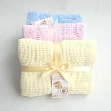 New 100% Cotton Baby Knitted Breathable Props Blanket Kids Crib Casual Sleeping Hole Wrap Blankets For Spring Summer Autumn