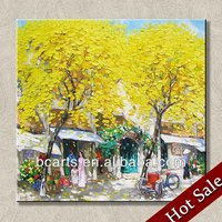 Village Scenery Oil Painting Hand Painted Home Decor Wall Art Pictures,Autumn Landscape Oil Painting on Canvas,Hot Wholesale