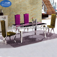 Dining room furniture marble top stainless steel dining table and chairs set CT-802# Y-611#