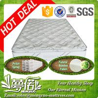 hot sale bamboo pillow top pocket spring ripple mattress