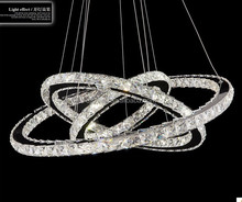 Modern Crystal Chandelier with three Rings, Crystal Pendant light