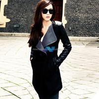 Winter Warm Women Ladies Big Lapel Collar Coat Long Leather Sleeve Jacket Parka Trench