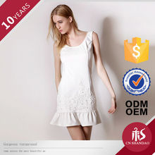 New Summer Style Appliqued Beaded Snow-white One Piece Dress For Western