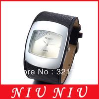 2015 Luxury fashion Lady' women Wrist Watch Rectangle diamond silver Dial Quartz black Leather Band Free shipping