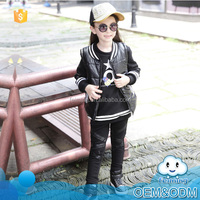 New products 2016 long sleeve winter baby clothes cool style black top quality girl clothing set