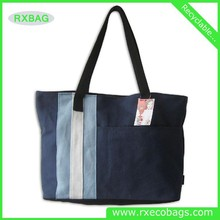 2015 colorful 12oz Stripe Canvas Beach Tote Shopping Bag