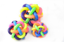 High Quality TPR Colorful Woven Ball With Little Bell Toys For Pet Dogs Cats