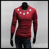 Freeshipping wholesale fashion five stars design casual long sleeve t shirt men