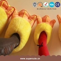 High quality funny gift yellow duck feet shape parent-child animal shaped slippers