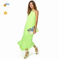 2015 New Special Crinkle Chiffon Dress Long Mature Sexy Lemon Green Evening Dress