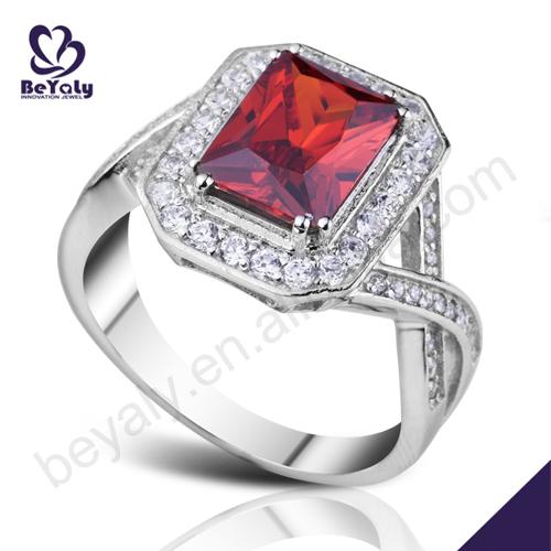 senhoras graciosas festa de varejo de jóias de prata ruby anéis