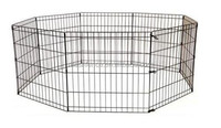 """24"""" Puppy Dog Cat Playpen Crate Fence Pet Kennel Play Pen Exercise Cage -8 Pane"""