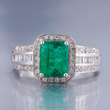 Hot Solid 14K White Gold Natural Colombia Emerald & Full Cut Diamond Ring Jewelry for Women