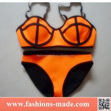 Two Piece Women Orange Neoprene Bikini