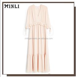 European Style One-piece Dress Deep V Neck Ruffle Waist Design Long Sleeve Plain Frock Design Dress