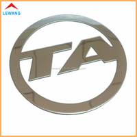 Customize mirror polished round metal nameplate sticker for car label logo