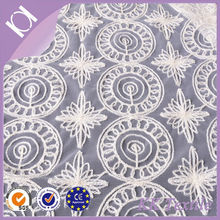 high quality circle pattern embroidery cotton white african cord lace