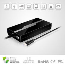 CE, FCC, RoHS Stylish 40W Ultra Slim Universal Laptop AC Adapter, computer battery with USB output and crystal connection