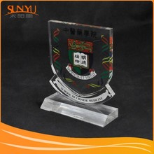 Top quality artistic school badge shape decorations trophy acrylic stand for custom