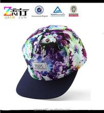 Digital Printing Floral Square Brim 5 Panel Snapback Hats Purple / Blank Snapback Caps Manufacturer