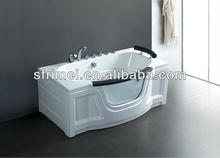 interior bañera bañera de acrílico bañera de masaje de vidrio templado lado rectángulo bañera independiente bañera