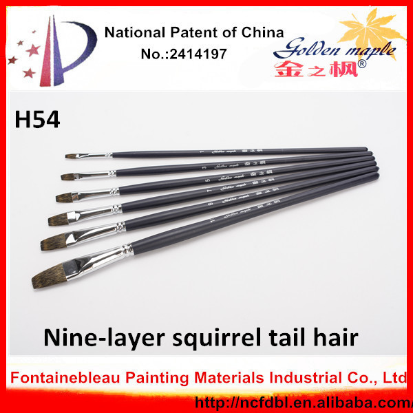 Personnalité h54 plat brosses d'art/Écureuil poils de la queue brosses d'art/brosses de l'art peinture à l'huile