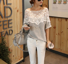 Walson Sweet Lace Cutout Shirt Women Hollow Out Handmade Crochet Cape Collar Batwing Sleeve Blouse wholesale clothing G0443