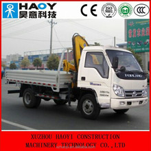 FOTON 4*2 small truck mounted crane with telescopic knuckle boom dump truck for sale