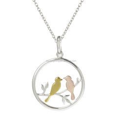 Sweet Love Story Scene Pendant Rose Gold & Yellow Gold Love Bird Pendant Necklace