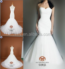 HMY-S006 Real Images Customized Mermaid Puffy Skirt Sweetheart Lace-up Pleats Wedding Dress