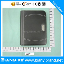 Promotional A4 zipper PU leather portfolio with writing pad and calculator