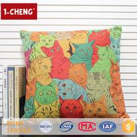 Trade Assurance Creative Cat Cartoon Pattern Printed Design Custom Cushion Home Decor Pillow Case Costume Baby Photo