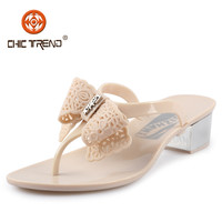2015 simple design high quality pvc sandals low heels jelly shoes crystal plastic melissa lady shoes with butterfly