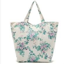 Flower Cotton Canvas Natural School Arts Bag Picnic Tote Shopping Bag