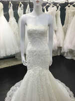 Real picture NEW 2015 Elegant Long MERMAID WEDDING DRESS with lace appliques scoop sleeveless bridal gown 16666