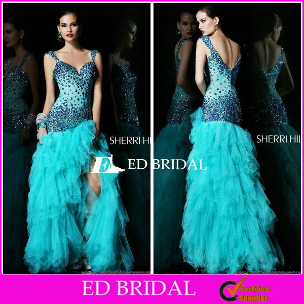 Últimas Crystal moldeado Diseño V'd Volver Puffy vestido de tul azul raja del lado Prom Girl Dress