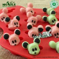 B0201 Cartoon Mickey Mouse in 16 cavity silicone cake tool chocolate mold