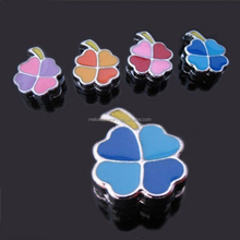 DIY mixcolor enamel four leaf clover 8mm slide charms beads for jewellery making