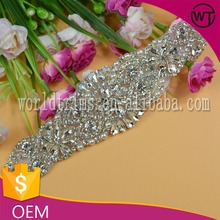 Wholesale beading iron on rhinestone appliques for dance dress WRC43