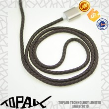 Smart pu leather braided charge cable for handphone, good quality usb charge data