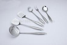 Jieyang romate fábrica 7- pieza de acero utensilio de cocina conjunto con el soporte, de plata y acabado satinado
