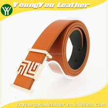 2015 NEW fashion orange microfiber PU leather man belt with famous buckles
