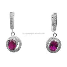 sterling silver women's wedding cz earring jewelry, ruby cz earring