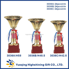 Red plastic trophy base metal trophies and awards gold plated souvenir golden trophy cup