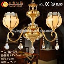 Cosecha de araña de cristales, colgando prismas de cristal, antigüedades de latón lámpara de cobre