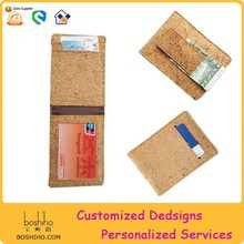 Boshiho Eco friendly cork funky card holder wallet,cork money clip