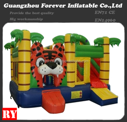 Newest design custom tiger inflatable slide combo for children game