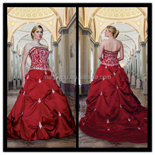 (MY8220) Marry You Off-shoulder Ruffle Skirt Embroidered Red Wedding Dresses For Fat Woman