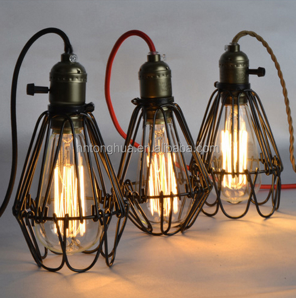 industrial lamp guard cage vintage industrial metal shades. Black Bedroom Furniture Sets. Home Design Ideas